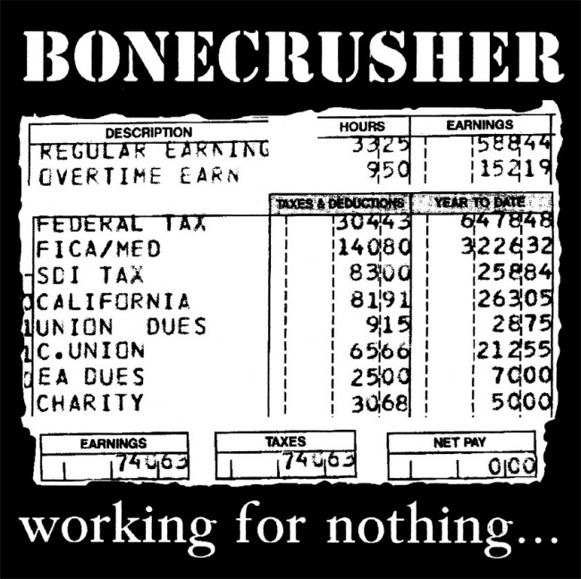 Bonecrusher - Working for nothing LP (RP)(white)